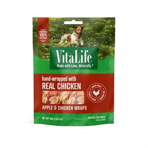 VitaLife Dog Jerky Treats Apple & Chicken Wraps 400g