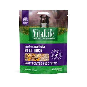 VitaLife Dog Jerky Treats Sweet Potato & Duck Twists 400g